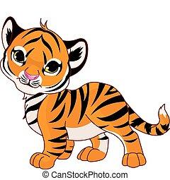 bambino, tiger, camminare