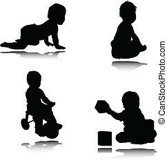 bambino, vettore, illustrazione