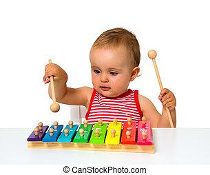 bambino, xilofono, gioco