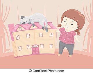 bambola, casa, illustrazione, gatto, ragazza, capretto