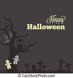 bambola, pietra, stile, maledizione, o, manifesto, iarda, invito, halloween, tipografico, augurio, erba, croce, disegno, tomba, vendemmia, gatto nero, ragnatela, scheda, felice