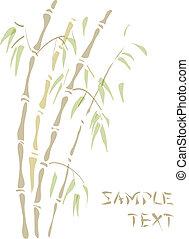 bamboo., acquarello, style.