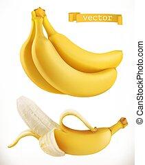 bananas., frutta, realistico, vettore, fresco, 3d, icona