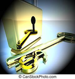 bancario, esposizione, dollaro, lucchetto, interpretazione, risparmi, chiave, 3d