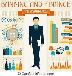 bancario, infographics., finanza