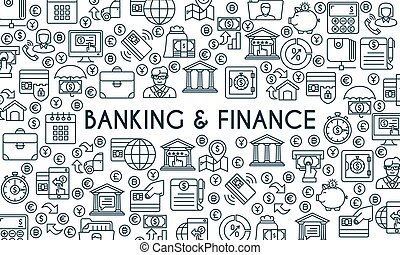 bancario, linea, bandiera, finanza, magro