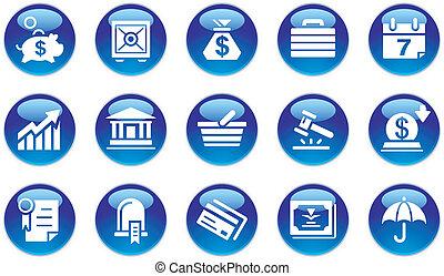 bancario, set, &, icone affari