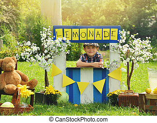 banco testimoni limonata, ragazzo, giallo, vendita