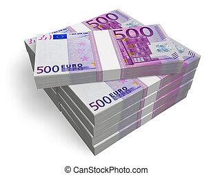 banconote, accatastare, 500, euro