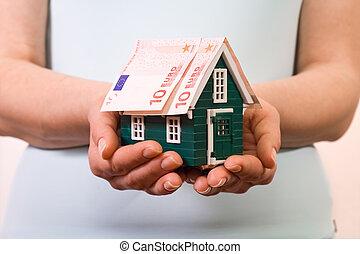 banconote, casa, concetto, assicurazione, euro