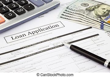 banconote, domanda, prestito, dollaro, forma