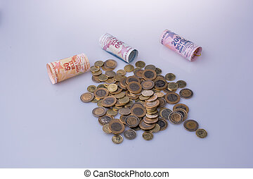 banconote, lira, monete, lato, turco