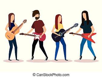 banda, gioco, strumenti musicali