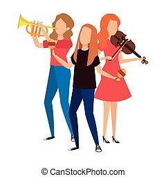 banda, musicale, caratteri, avatars