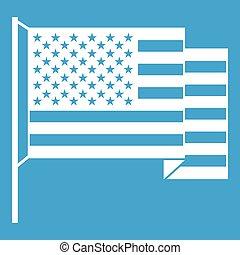 bandiera americana, bianco, icona