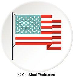 bandiera americana, cerchio, icona