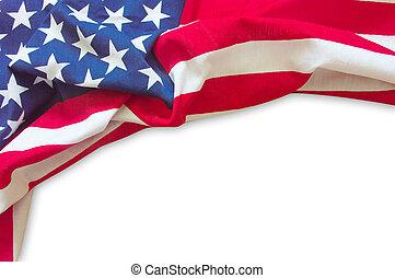 bandiera americana, isolato, bordo