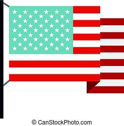bandiera americana, isolato, icona