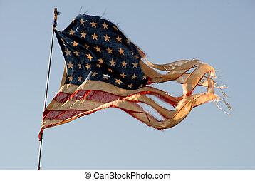 bandiera americana, stracciato