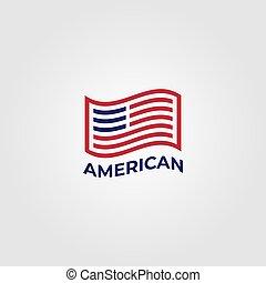 bandiera, americano, disegno, vettore, minimalista, illustrazione, simbolo