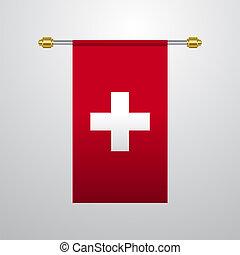 bandiera, appendere, svizzera