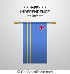 bandiera, aruba, fondo, appendere, giorno, indipendenza