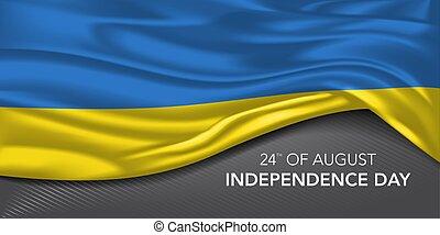 bandiera, augurio, giorno, sagoma, testo, scheda, ucraina, vettore, indipendenza, illustrazione