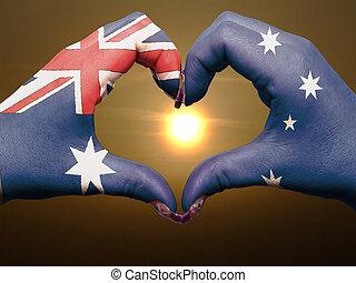 bandiera, australia, cuore, esposizione, gesto, durante, fatto, alba, amore, colorato, simbolo, mani, turista