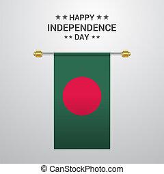 bandiera bangladesh, fondo, appendere, giorno, indipendenza