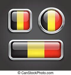 bandiera, belgio, vetro, bottoni