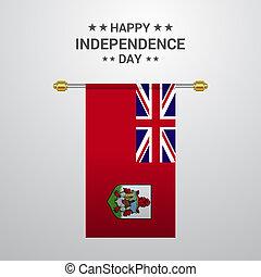 bandiera, bermude, fondo, appendere, giorno, indipendenza