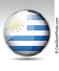 bandiera, bottone, uruguay
