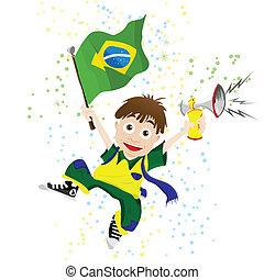 bandiera brasile, sport, ventilatore, corno