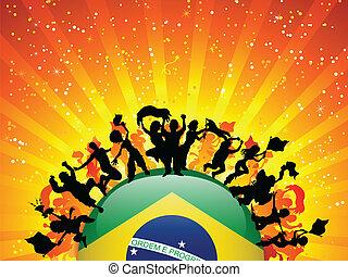 bandiera brasile, sport, ventilatore, folla