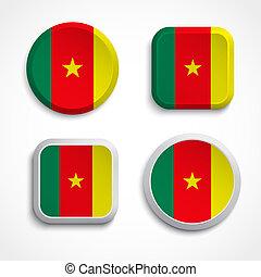 bandiera, camerun, bottoni