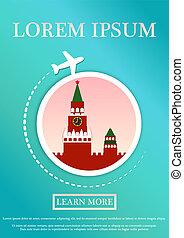 bandiera, card., carta, testo, viaggiare, moscow., arte moderna, template., illustrazione, sito web, vettore, cremlino, appartamento, concetto, design.