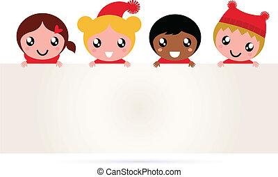 bandiera, carino, natale, multicultural, bambini
