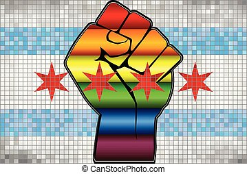 bandiera, chicago, baluginante, lgbt, pugno, protesta