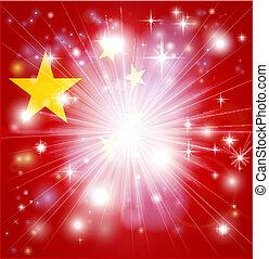 bandiera, cinese, fondo