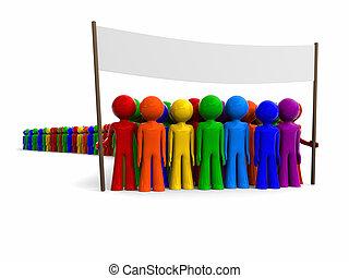 bandiera, colorito, folla