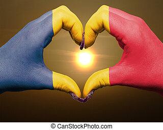 bandiera, cuore, esposizione, gesto, durante, chad, fatto, alba, amore, colorato, simbolo, mani, turista