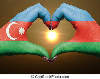 bandiera, cuore, esposizione, gesto, durante, fatto, alba, amore, azerbaijan, colorato, simbolo, mani, turista