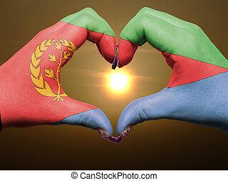 bandiera, cuore, esposizione, gesto, durante, fatto, alba, amore, colorato, eritrea, simbolo, mani, turista