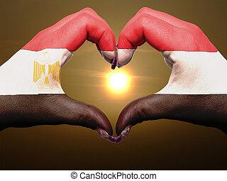 bandiera, cuore, esposizione, gesto, egitto, durante, fatto, alba, amore, colorato, simbolo, mani, turista