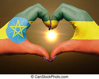 bandiera, cuore, esposizione, gesto, etiopia, durante, fatto, alba, amore, colorato, simbolo, mani, turista