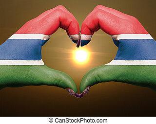 bandiera, cuore, esposizione, gesto, gambia, durante, fatto, alba, amore, colorato, simbolo, mani, turista