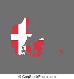 bandiera danimarca, mappa