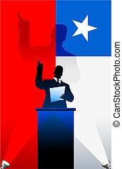 bandiera, dietro, cile, politico, podio, altoparlante
