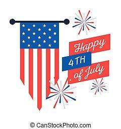 bandiera, disegno, vettore, fireworks, bandiera, giorno, indipendenza