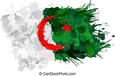 bandiera, fatto, algerino, colorito, schizzi